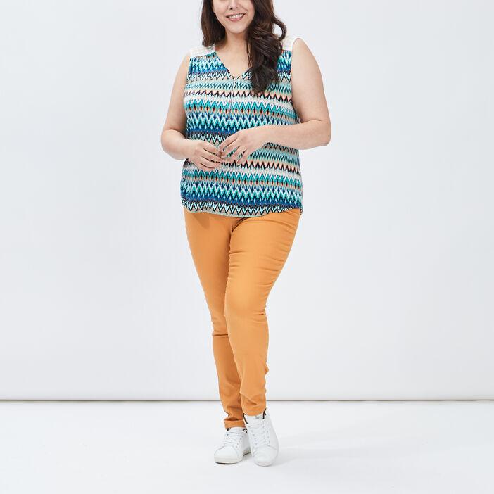 Jegging femme grande taille jaune moutarde