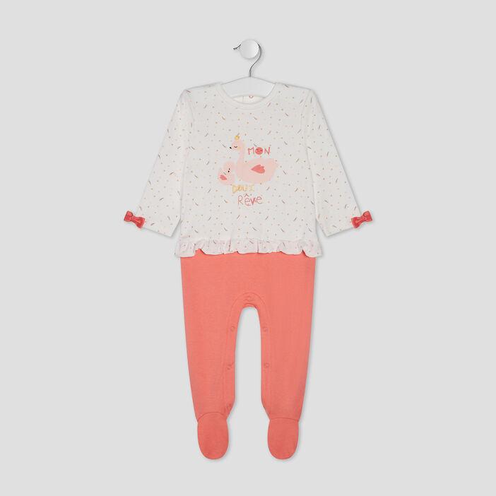 Dors-bien à noeuds et volants bébé fille orange corail