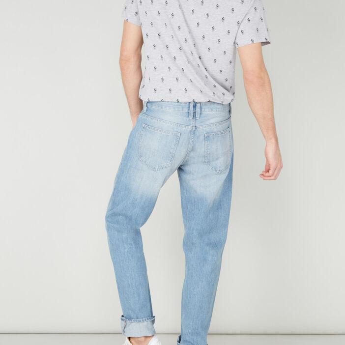 Jean regular uni en coton homme denim bleach