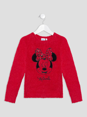 Pull manches longues Minnie rouge fille