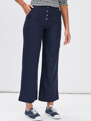 Pantalon droit boutonne bleu marine femme