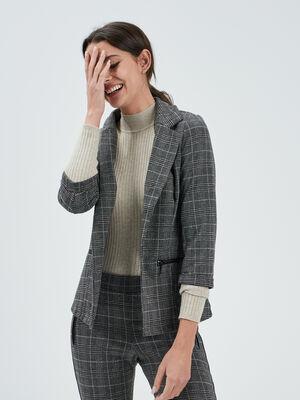 Veste droite manches 34 gris fonce femme