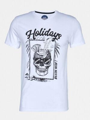 T shirt manches courtes avec imprime blanc homme
