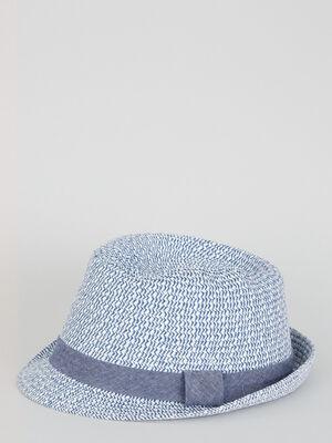 Chapeau de paille bicolore bleu garcon