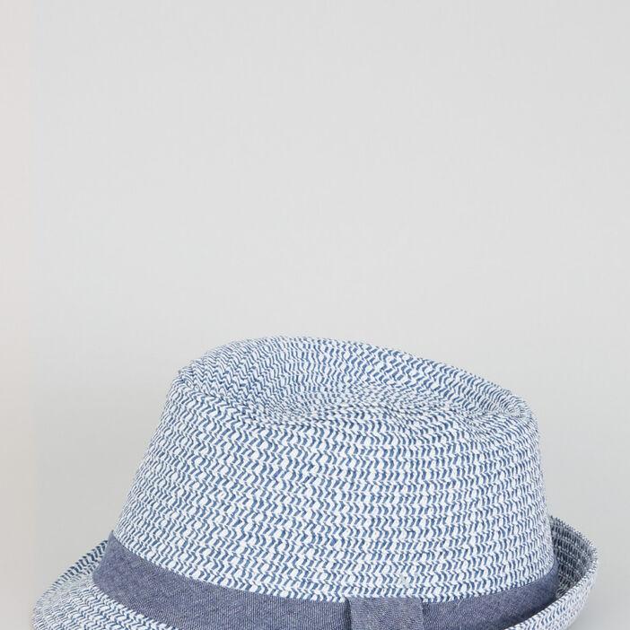 Chapeau de paille bicolore garçon bleu
