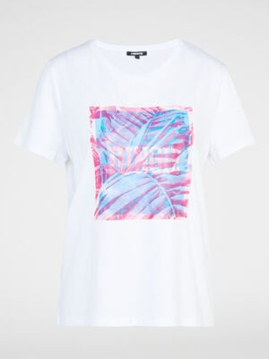 T shirt col rond avec imprime blanc femme