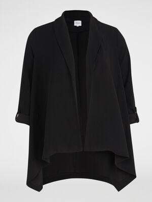 Veste asymetrique unie forme ouverte noir femme