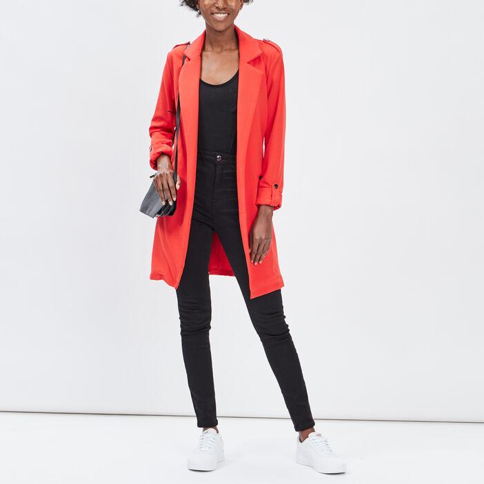 Veste droite fluide ceinturée femme rouge