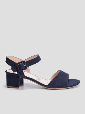 Sandales a talons en cuir bleu femme
