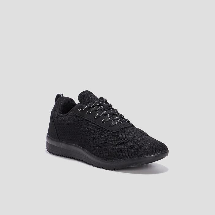 Baskets running à lacets femme noir