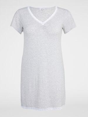 Chemise de nuit avec dentelle gris femme