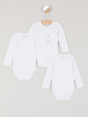 Lot de 3 body en coton blanc bebe