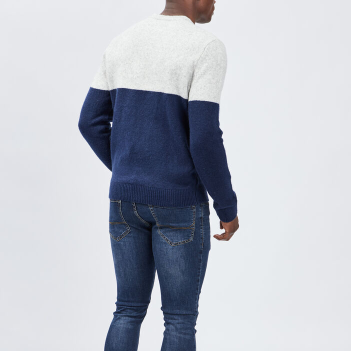 Pull manches longues homme bleu marine