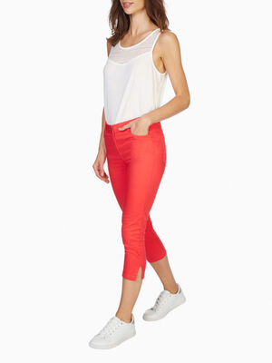 Pantacourt slim uni orange corail femme