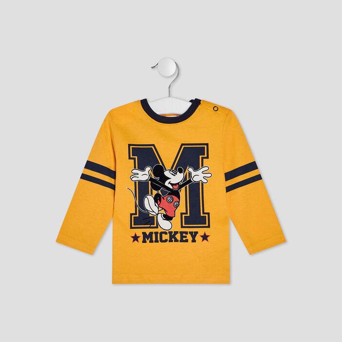 T-shirt manches longues Mickey bébé garçon jaune moutarde