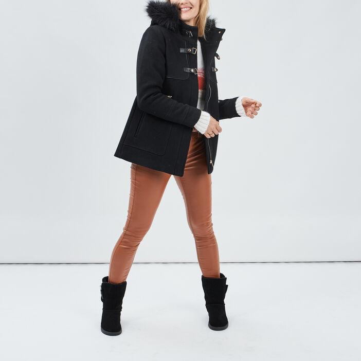 Manteau droit à capuche femme noir