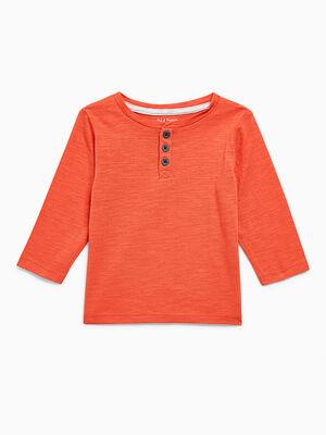 T shirt coton uni col boutonne rouge garcon