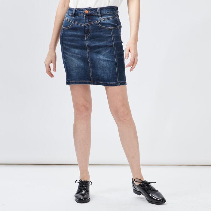 Jupe droite en jean femme denim double stone