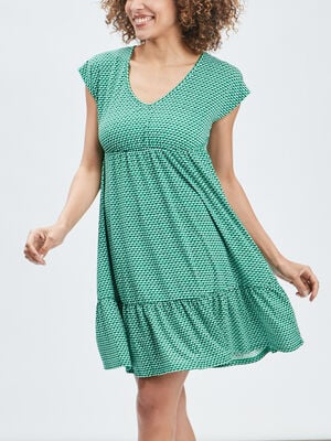 Robe evasee manches courtes vert femme