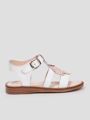 Sandales plates en cuir blanc fille