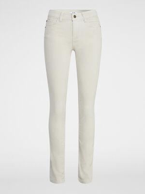 Pantalon droit en velours beige femme