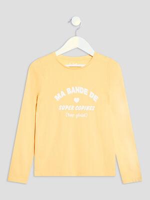 T shirt manches longues jaune fille