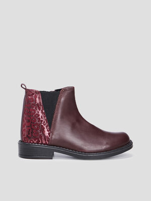 Bottines zippees en cuir violet fille
