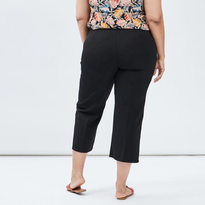 Pantalon droit ceinturé femme grande taille noir