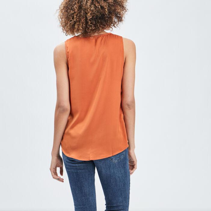 Blouse sans manches femme orange