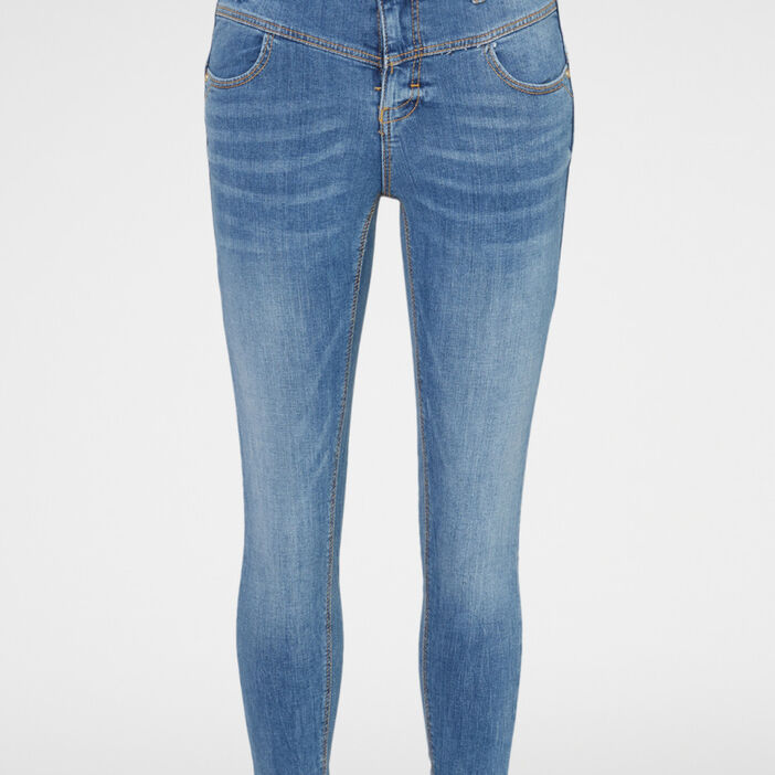 Jean coupe skinny coutures contrastées femme denim double stone