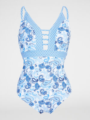 Maillot 1 piece imprimes contrastants bleu turquoise femme