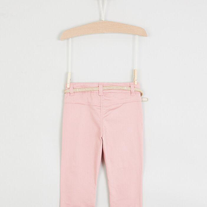Pantalon coupe slim broderies lapin fille rose