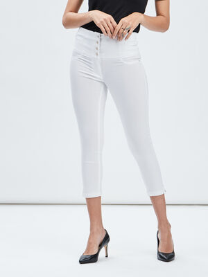 Pantacourt skinny taille haute ecru femme