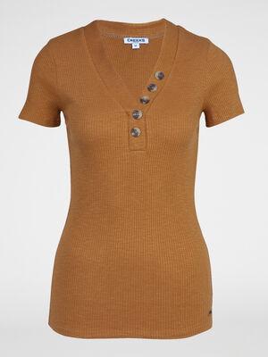 T shirt boutons maille chaussette coton camel femme