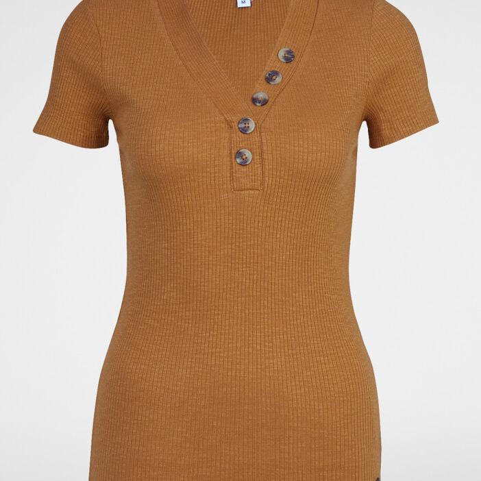 T-shirt boutons maille chaussette coton femme camel