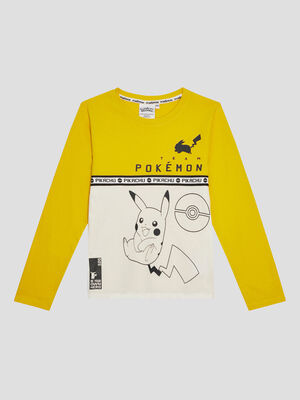 T shirt Pokemon jaune moutarde garcon