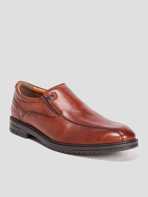 Chaussures emboitantes en cuir marron cognac homme