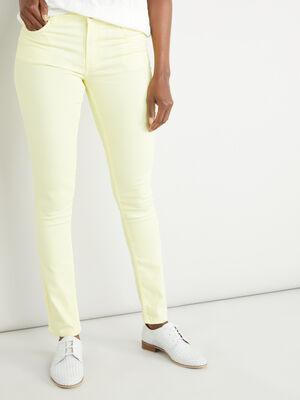 Pantalon slim uni jaune femme