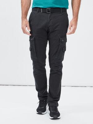 Pantalon droit ceinture gris fonce homme