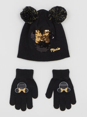 Ensemble gants et bonnet Minnie noir fille