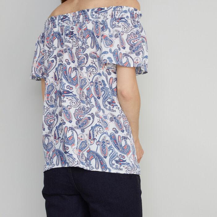 Chemise imprimée col Bardot pompons femme multicolore