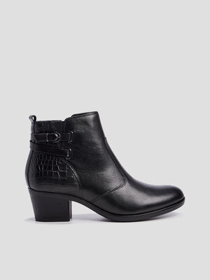 Bottines cuir zippees a boucles noir femme