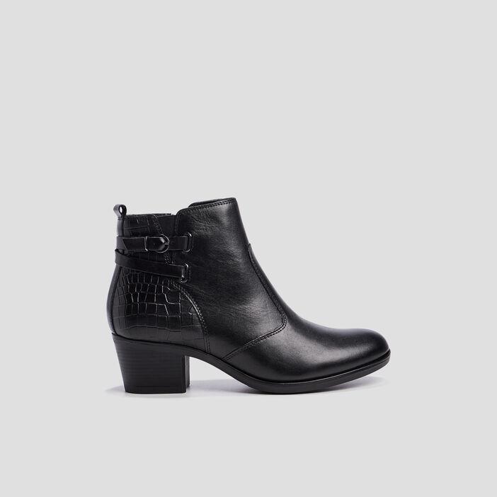 Bottines cuir zippées à boucles femme noir
