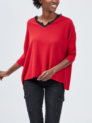 Pull manches 34 Liberto rouge femme