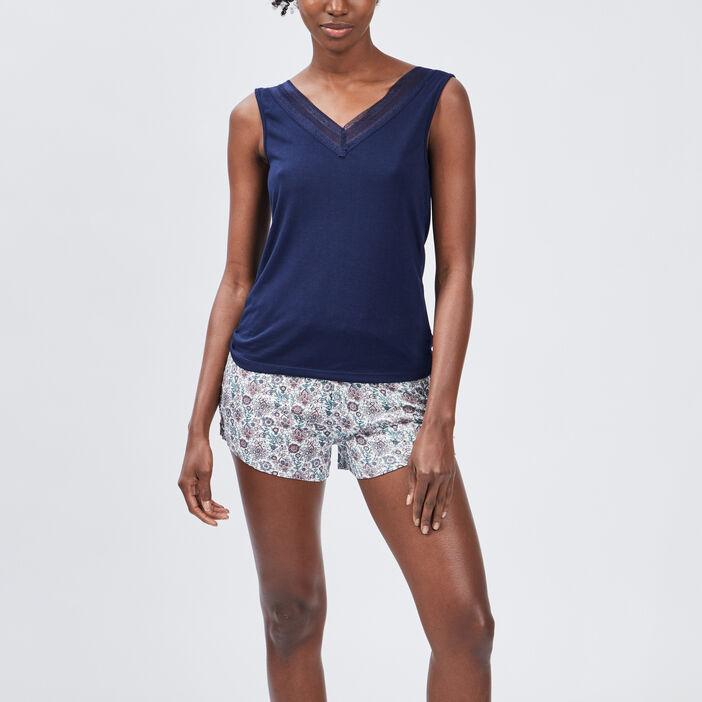 Haut de pyjama femme bleu marine