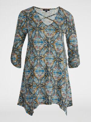 T shirt imprime a base asymetrique bleu femme