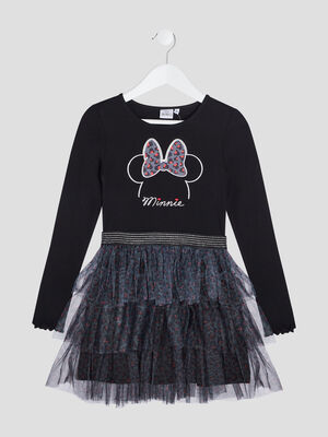 Robe evasee a volants Minnie noir fille