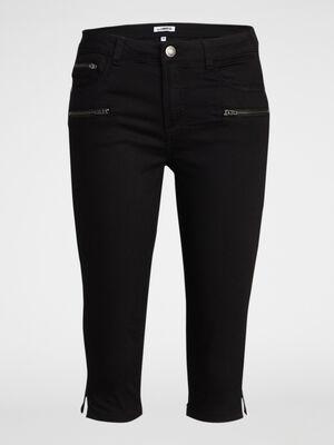 Pantacourt details zips coton majoritair noir femme