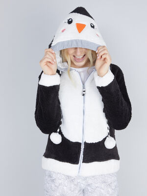 Veste de pyjama pingouin a capuche noir femme