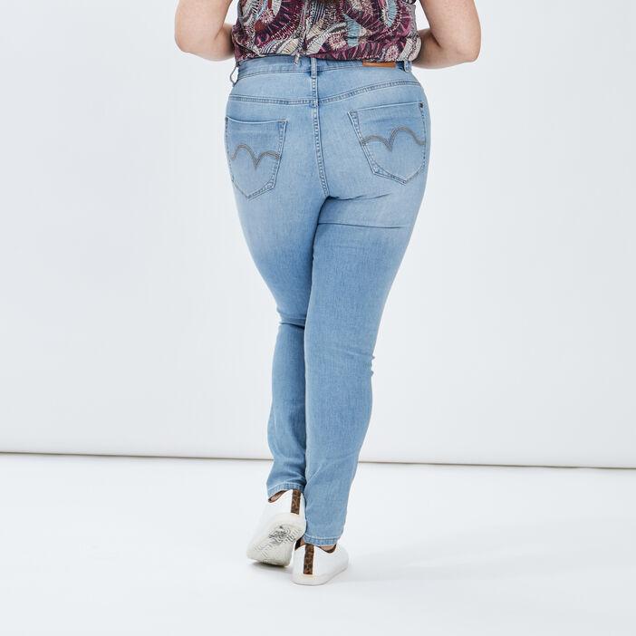 Jeans slim taille ajustable femme grande taille denim double stone